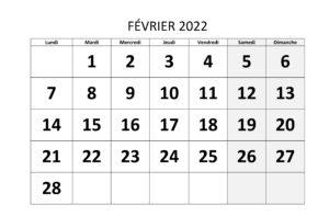 Calendrier Février 2022 PDF