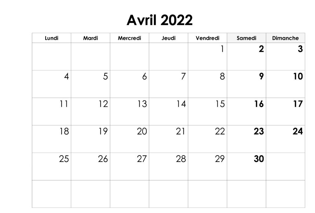 Calendrier Imprimable de Avril 2022