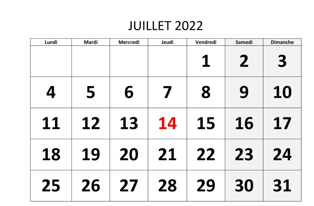 Calendrier Juillet 2022 Excel