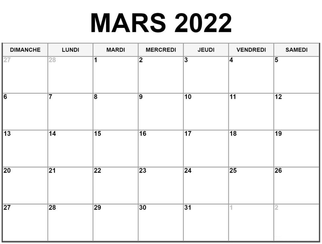 Calendrier Lunaire Mars 2022