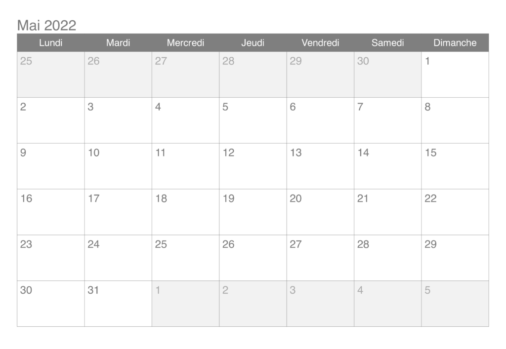 Calendrier Mai 2022 Excel