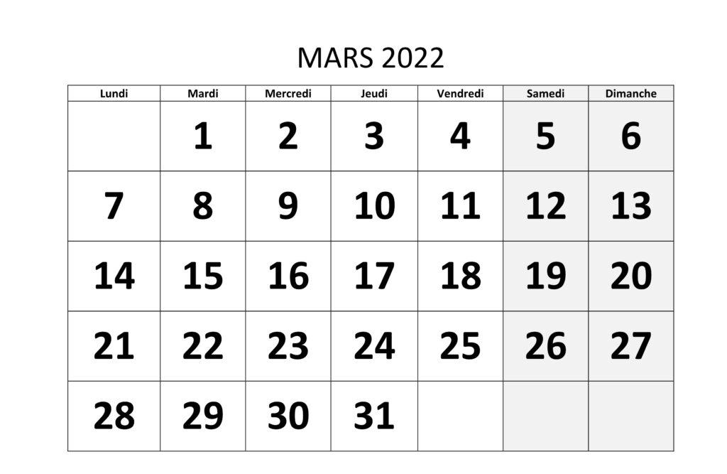 Calendrier Mars 2022 PDF