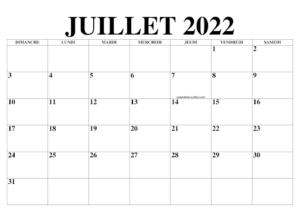 Calendrier de Juillet 2022