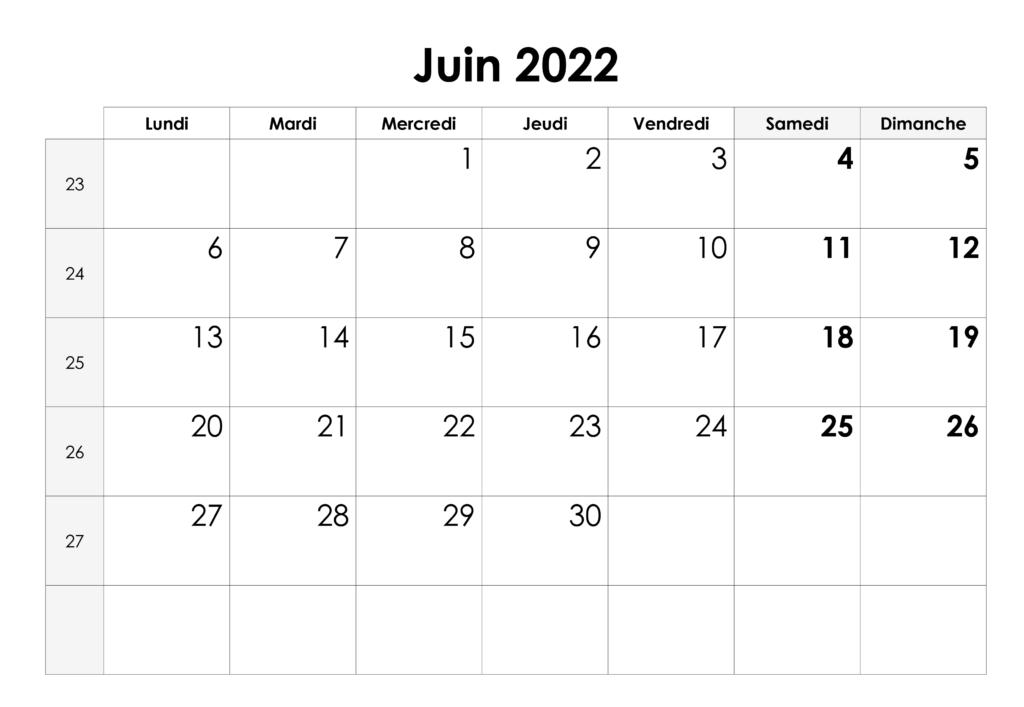 Calendrier de Juin 2022