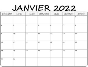Janvier 2022 Calendrier
