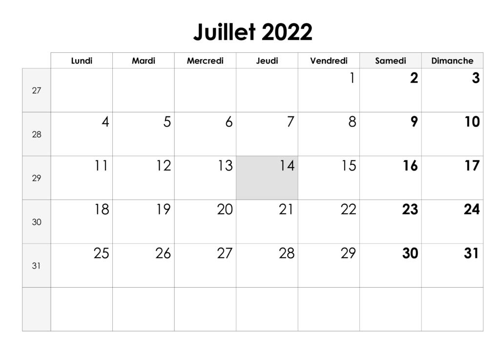 Juillet 2022Calendrier