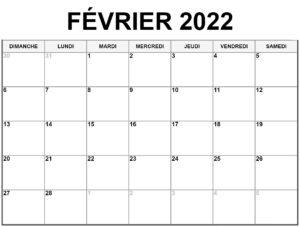 Calendrier Lunaire Février 2022